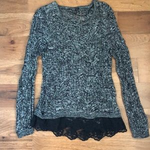 Black and white knit sweater with lace!